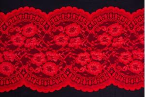 Кружево Италия (полиестер 95%, эластан 5%,  красное кружево, цветы, шир. 22 см)